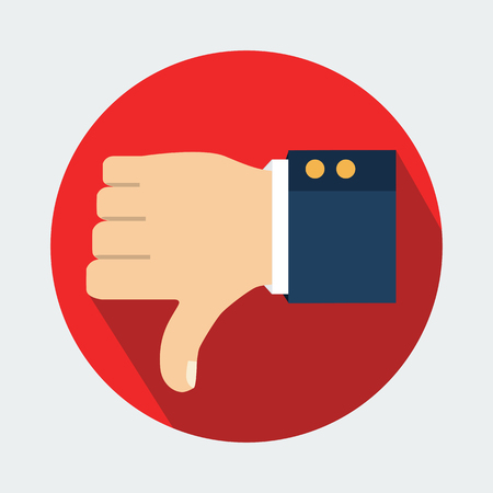 deny: Thumb down vector icon. Isolated on a background. Dislike symbol. Vector illustration Illustration