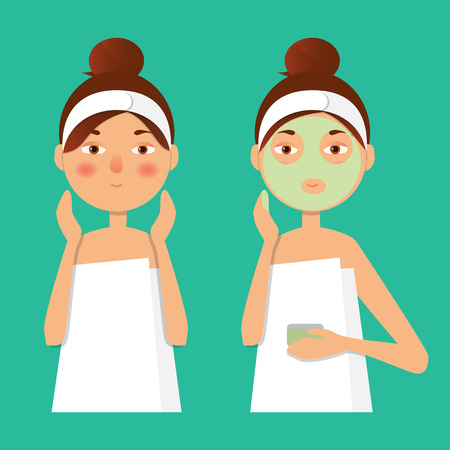 wiping: Vector illustration. Beautiful girl inflicts a mask of clay or cream on the face. Beauty, body care concept.