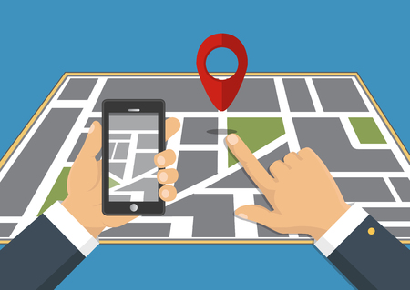 Vector illustration. Map. The concept of navigation, delivery. Hand holding a phone and indicates the location on the map.