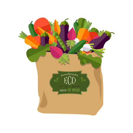 Paper bag with healthy foods, vegetables. Healthy organic natural food. Grocery delivery concept. Flat vector illustration