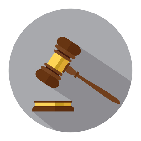 Flat style isolated on background. A wooden judge gavel, hammer of judge or auctioneer and soundboard, vector illustration. Vetores