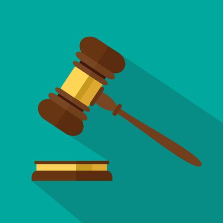 Wohnung Stil auf Hintergrund. Ein hölzerner Richter-Hammer, Hammer des Richters oder Auktionator und Resonanzboden, Vektor-Illustration.