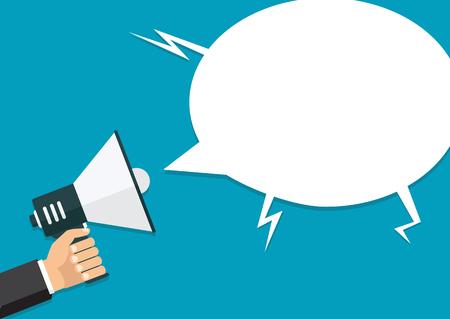 Vector, eps10, illustratie. Hand met een megafoon, plat ontwerp, promotie, social media marketing concept. Geïsoleerd op een achtergrond. Stock Illustratie