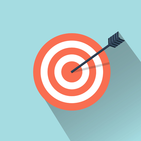shooting at goal: Vector flat icon. Arrow hitting a target. Business concept.Icon isolated on background.
