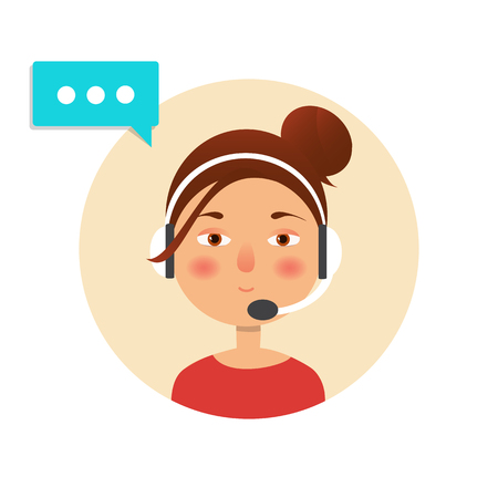 telemarketer: Client service and communication concept. Vector. Call center operator icon with headset. Female call center avatar. Stock Photo