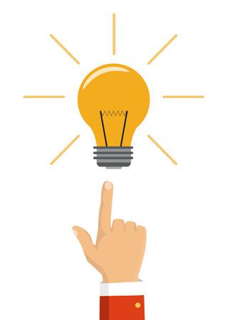 バルブに指を指しています。大きなアイデアの概念。フラットなデザインのベクトル図です。背景に分離されました。