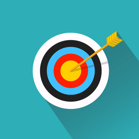 Vector flat icon. Arrow hitting a target. Business concept.Icon isolated on background.