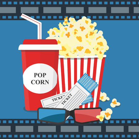 Popcorn and drink. Film strip border. Cinema movie night icon in flat design style. Bright background. Vector illustration Foto de archivo