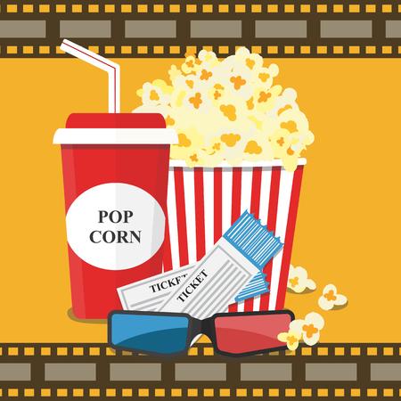 Popcorn and drink. Film strip border. Cinema movie night icon in flat design style. Bright background. Vector illustration Stock Photo