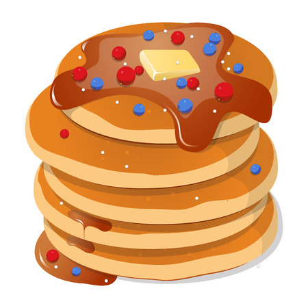Fresh tasty hot pancakes with sweet maple syrup. Cartoon icon isolated on background. Vintage restaurant sign. Vector illustration, eps10.