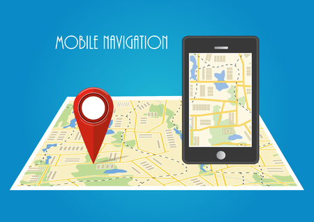 Map. The concept of mobile navigation, delivery. Location on the map. Vector illustration Stock Photo
