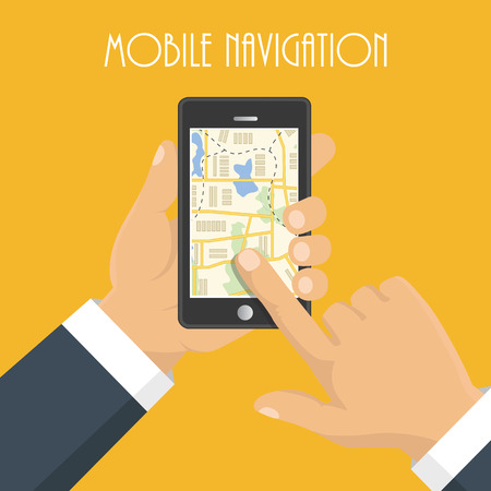navigator: Map. The concept of navigation, delivery. Hand holding a phone and indicates the location on the map. Vector illustration