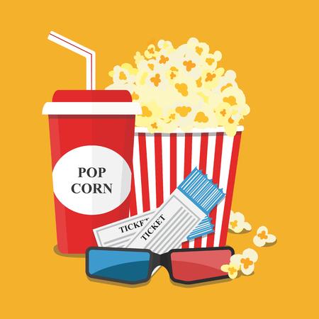 Popcorn Und Getränk. Filmstreifen Grenze. Kino Film-Nacht-Symbol Im ...