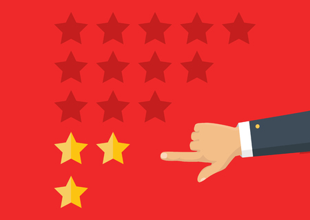 Customer review concept. Vector. Rating golden stars. Feedback, reputation and quality concept. Hand pointing, finger pointing to five star rating. Imagens - 75545470
