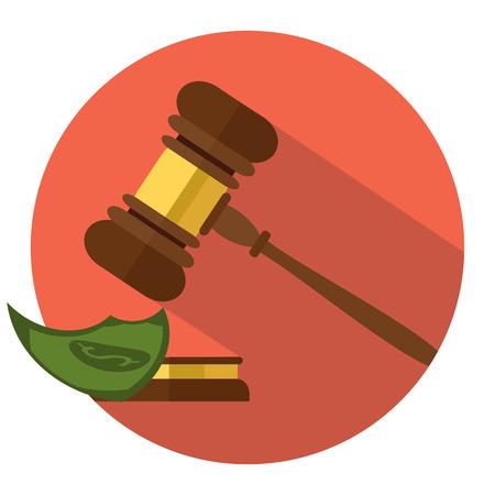 Platte stijl geïsoleerd op achtergrond. Een houten rechterhamer, hamer van rechter of veilingmeester en soundboard, vectorillustratie. Stockfoto - 75545486