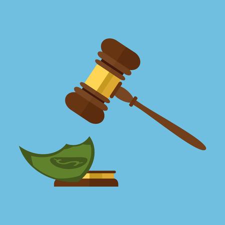 orden judicial: Estilo plano aislado en el fondo. Un juez de madera martillo, martillo de juez o subastador y caja de resonancia, ilustración vectorial. Foto de archivo