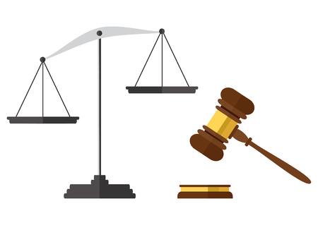 Flat style isolated on background. A wooden judge gavel, hammer of judge or auctioneer and soundboard, vector illustration. Stok Fotoğraf - 75545495