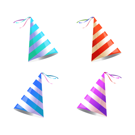 Vector isolated illustration. Holiday icon. Isometric 3d illustration. Birthday party hat with stripes.