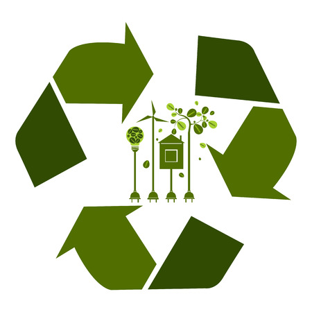 Vector illustration. Eco friendly. Ecology green energy concept with Recycle symbol and tree.