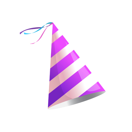 dressing: Vector isolated illustration. Holiday icon. Isometric 3d illustration. Birthday party hat with stripes.
