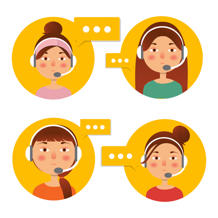 Client service and communication concept. Vector. Call center operator icon with headset. Female call center avatar. Фото со стока
