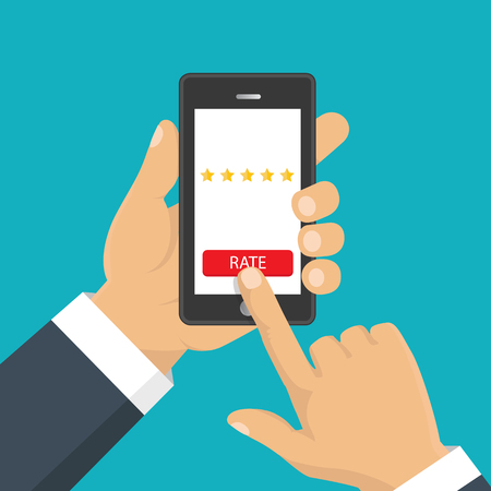 Customer review concept. Vector. Rating golden stars. Feedback, reputation and quality concept. Hand pointing, finger pointing to five star rating.