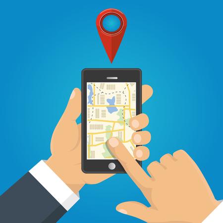 マップします。ナビゲーション、配信の概念。携帯電話を持っている手し、マップ上の位置を示します。ベクトル図