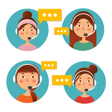 Client service and communication concept. Vector. Call center operator icon with headset. Female call center avatar. Stock Photo