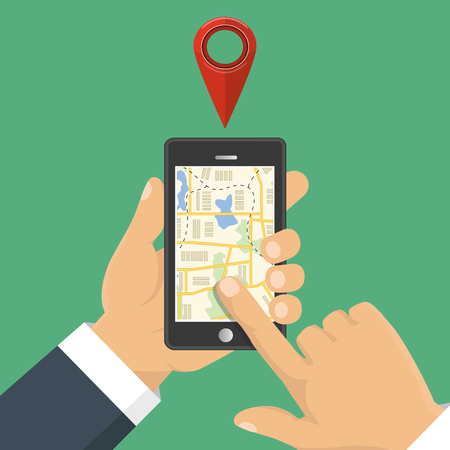 gps device: Map. The concept of navigation, delivery. Hand holding a phone and indicates the location on the map. Vector illustration