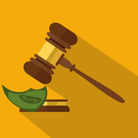 juridical: Flat style isolated on background. A wooden judge gavel, hammer of judge or auctioneer and soundboard, vector illustration.