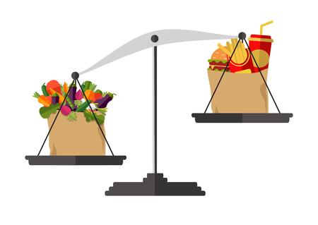 Concept van gewichtsverlies, gezonde levensstijl, dieet, goede voeding. Groenten en fastfood op schalen. Vector.