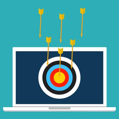 dos: Vector illustration security, data privacy concept. Cyber crime, DDOS dos, service attack, victim laptop computer.