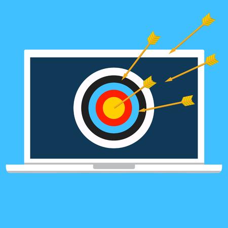 A Vector illustration security, data privacy concept. Cyber crime, DDOS dos, service attack, victim laptop computer.