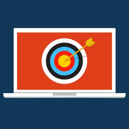 denial: Vector illustration security, data privacy concept. Cyber crime, DDOS dos, service attack, victim laptop computer.