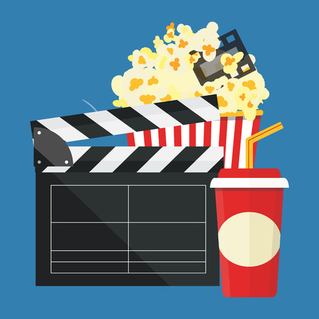Popcorn and drink. Film strip border. Cinema movie night icon in flat design style. Illustration