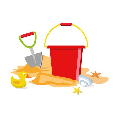 Beach toys isolated. Pail, shovel, starfish, bucket, duckling, shell, sand. Summer time flat design. Vector Ilustração