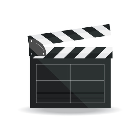 Clapperboard isolated on background. Video movie clapper equipment, icon.