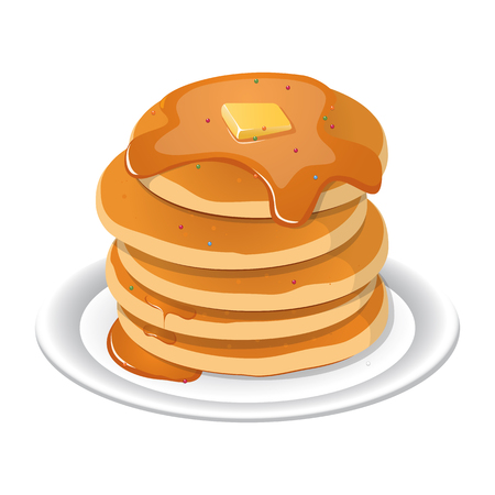 Fresh tasty hot pancakes with sweet maple syrup. Cartoon icon isolated on background.