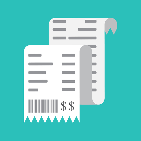 reciept: Vector illustration isolated on a colored background. Invoice, payments concept, icon.