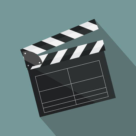 Clapperboard isolated on background. Video movie clapper equipment, icon. Vector illustration in flat style. Ilustração