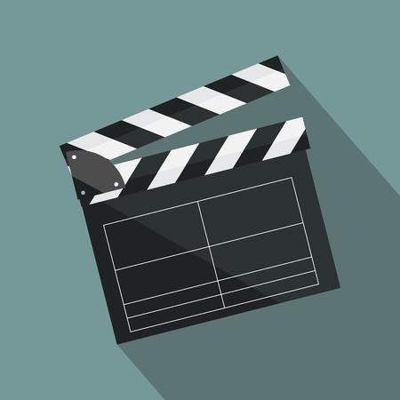 Clapperboard op achtergrond wordt geïsoleerd die. Videofilm kleppenapparatuur, pictogram. Vectorillustratie in vlakke stijl.