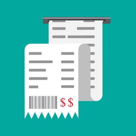 reciept: Vector illustration isolated on a colored background. Invoice, payment  sconcept, icon. Bill, financial check, reciept. Illustration