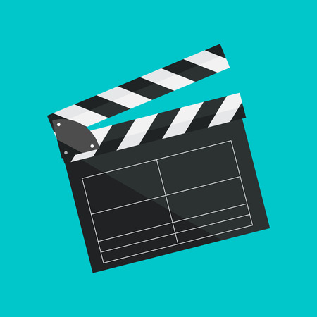 Clapperboard isolated on background. Video movie clapper equipment, icon. Vector illustration in flat style. Illusztráció