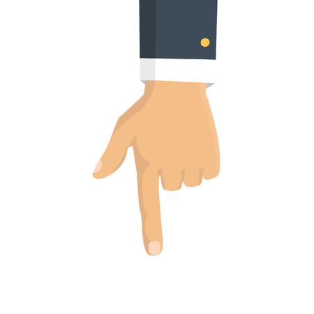 Vector isolated illustration. Hand with pointing finger. Vectores