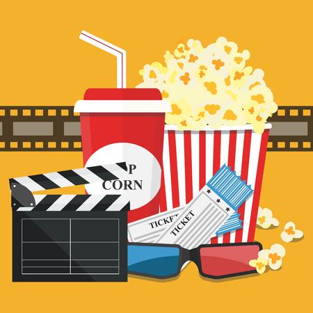 Popcorn and drink. Film strip border. Cinema movie night icon in flat design style. Illustration