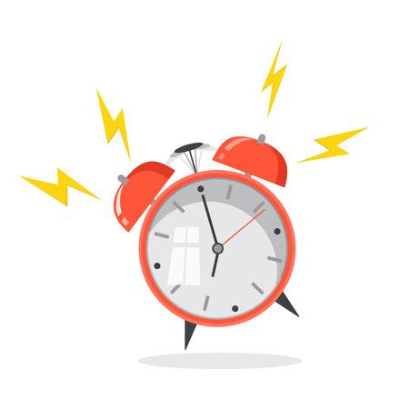 フラットなデザイン。ベクトルのアイコンの背景に分離されました。漫画の目覚まし時計が鳴っています。概念の朝目を覚ます。