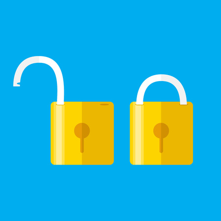 Lock icon, isolated on colored background. Vector. Opened and closed locks. Flat style. Concept of password, blocking, security.