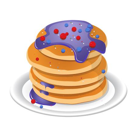 Fresh tasty hot pancakes with sweet maple syrup. Cartoon icon isolated on background.