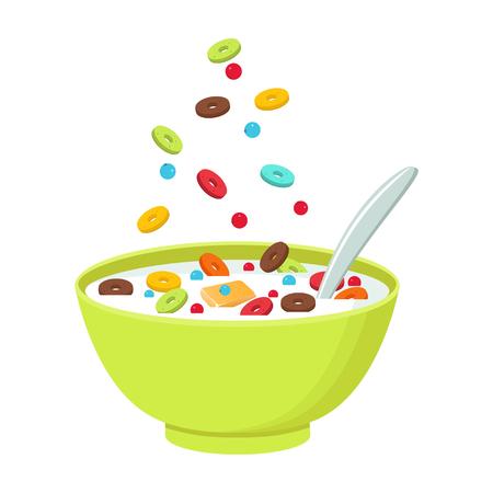 Ilustración del vector. Cereal tazón con leche, batido aisladas sobre fondo blanco.