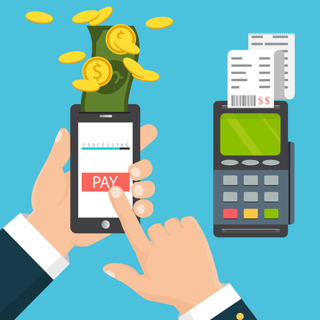 Mobile pos payment concept. Hand holding a phone. Smartphone wireless money transfer to pos terminal.